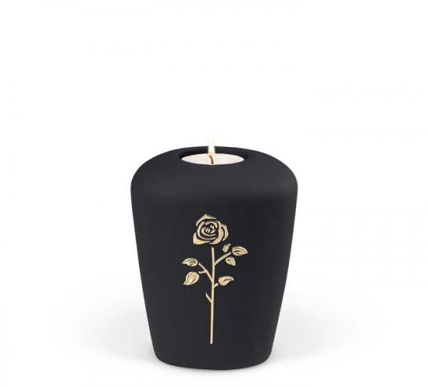 Gedenkurne Keramik anthrazit, Rose Stripdome