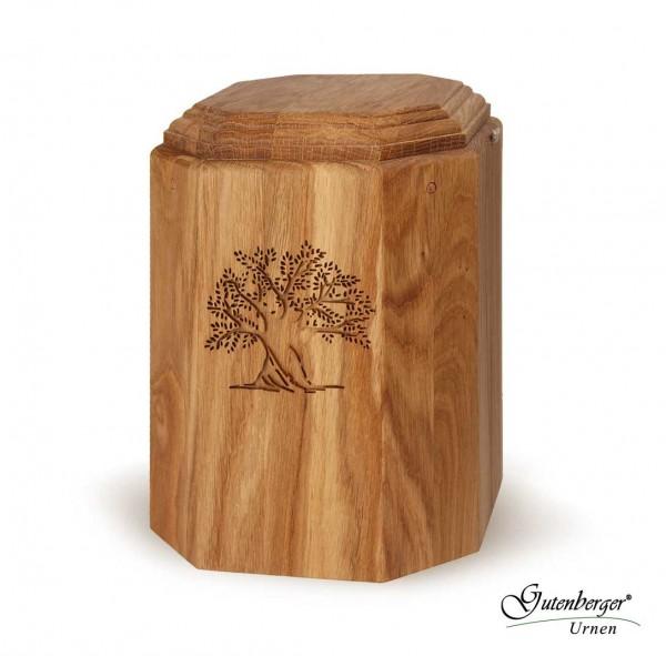 Gutenberger-Urne aus Eiche geölt, Motiv Baum