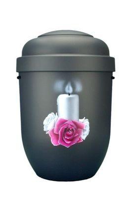 Naturstoffurne anthrazit, Motiv: Kerze mit Rosenkranz