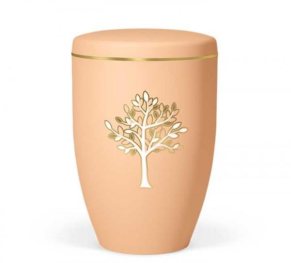 Naturstoffurne ockerorange mit Dekor Baum gold/weiß