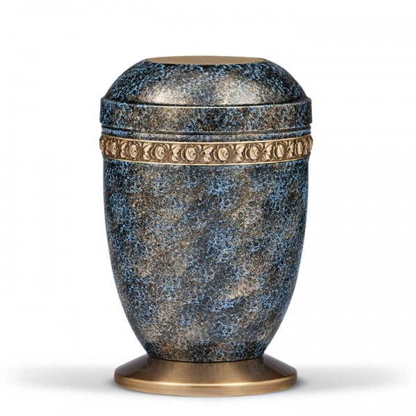 Stahlurne blau gold patina mit Messingsockel, Dekor Rosenfries US1410A-S
