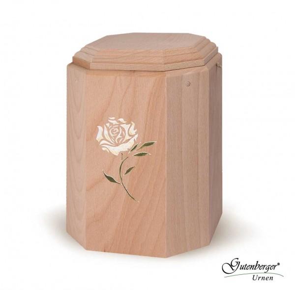 """Gutenberger-Urne aus Buche """"Art"""" Motiv Weiße Rose"""