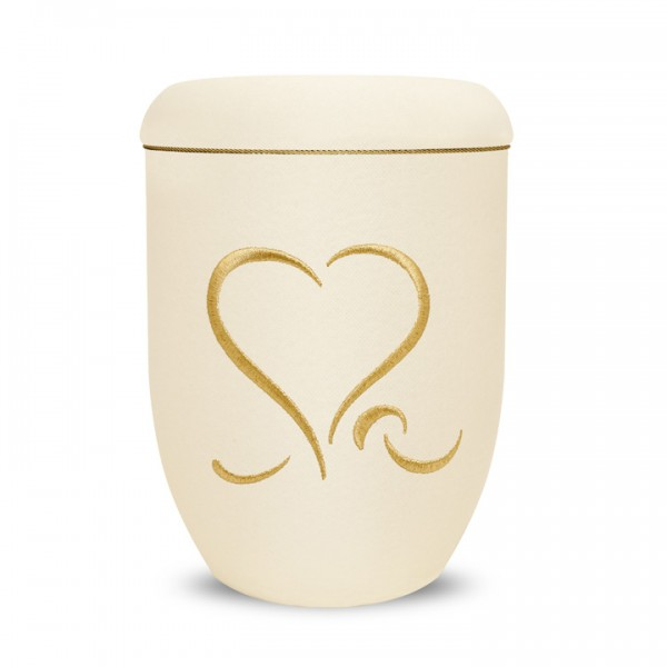 Urncape Traditional creme mit Motiv Herz CT103