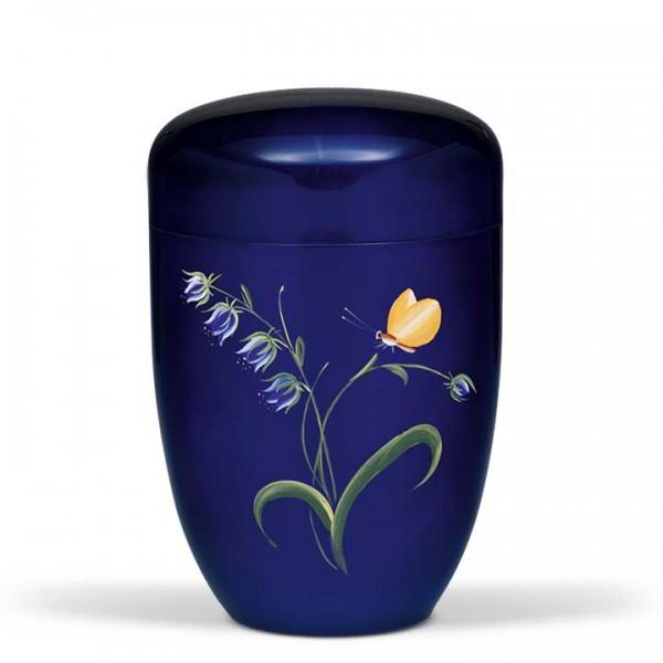 Stahlurne kobaltblau, Motiv: Glockenblume mit Falter US3651