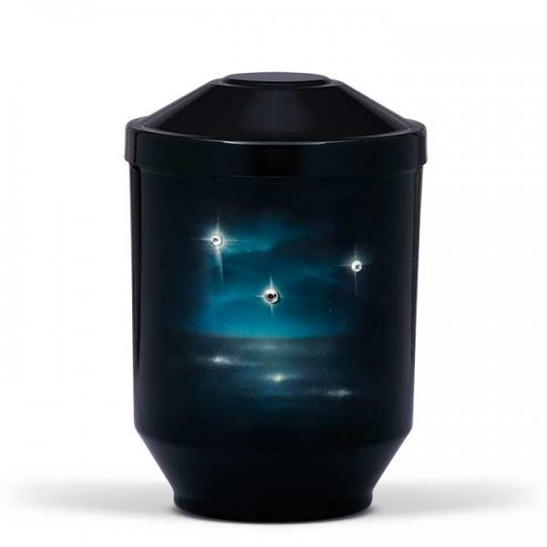 Stahlurne schwarz mit Swarovski Steine, Motiv Funkelnde Sterne U US3520