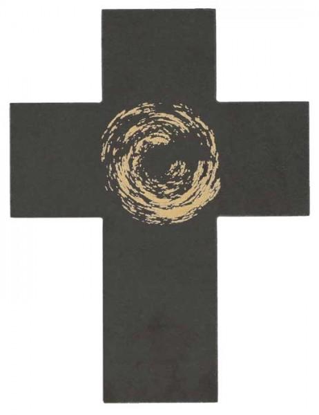 Schieferkreuz gold bedruckt