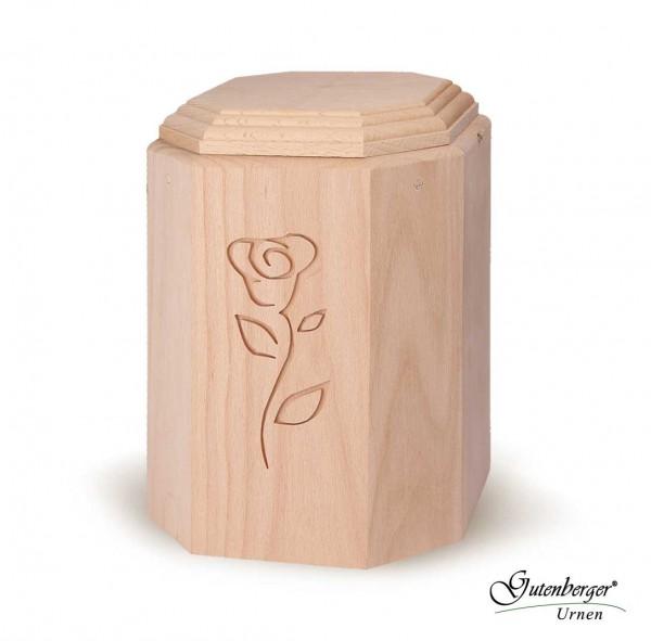 Gutenberger-Urne aus Buche massiv mit Motiv Rose