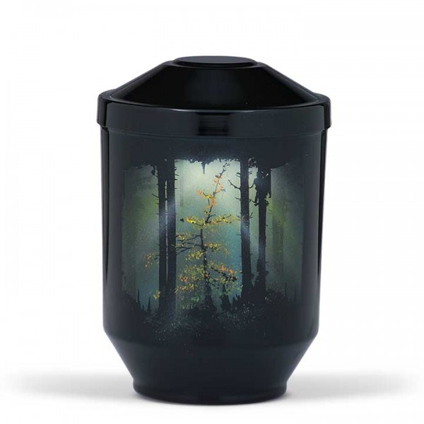 Stahlurne schwarz, Motiv Waldlichtung US3515