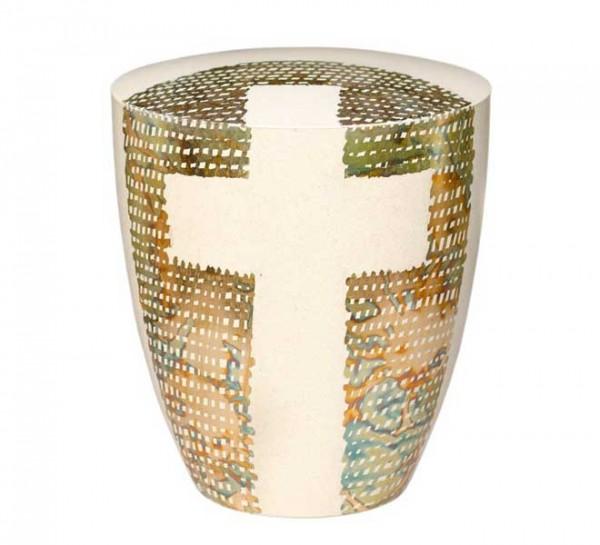 Urne Genesis Cremeweiß mit Design Kreuz umrahmt