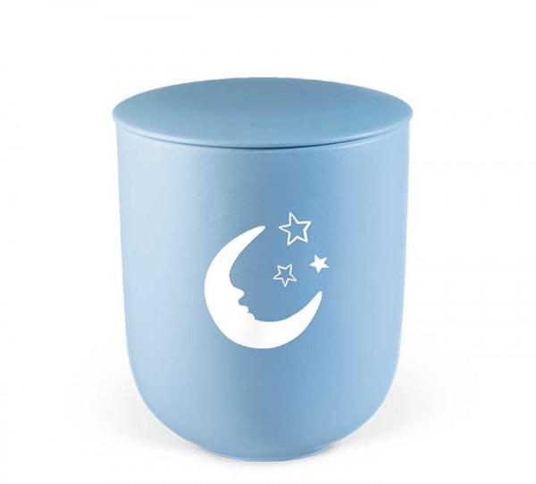 Keramik-Kleinurne himmelblau, Dekor Mond und Sterne