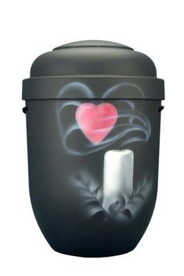 Naturstoffurne anthrazit, Motiv: Kerze mit Herz