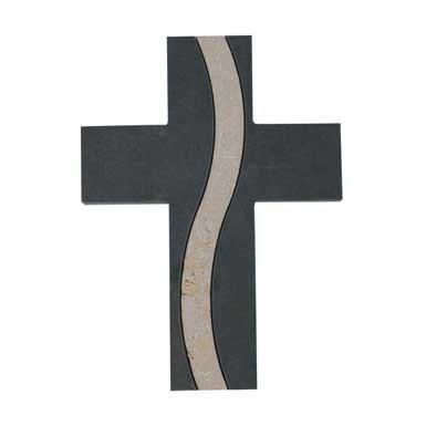 Schieferkreuz mit Inlay aus Naturstein