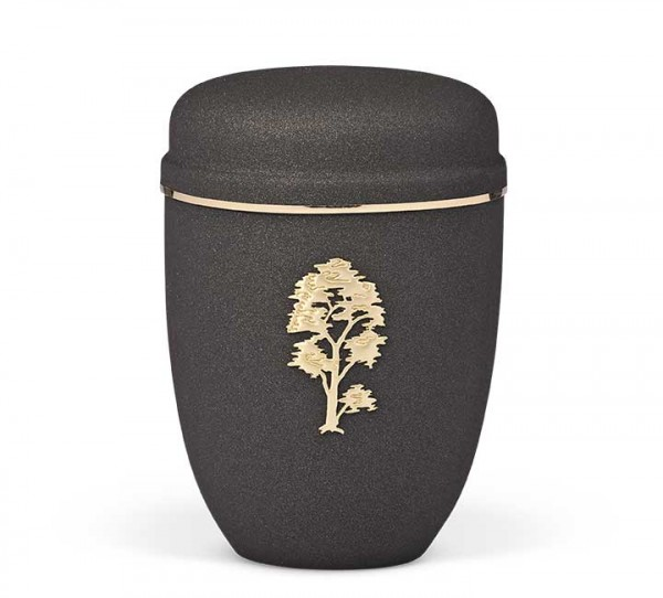 Stahlurne grau anthrazit, Motiv Stripdome Baum