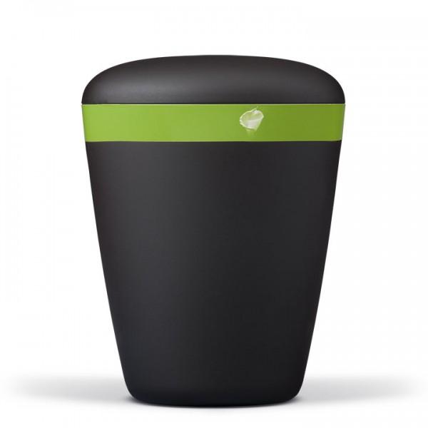 Naturstoffurne anthrazit-velour, Dekorband grün mit Calla