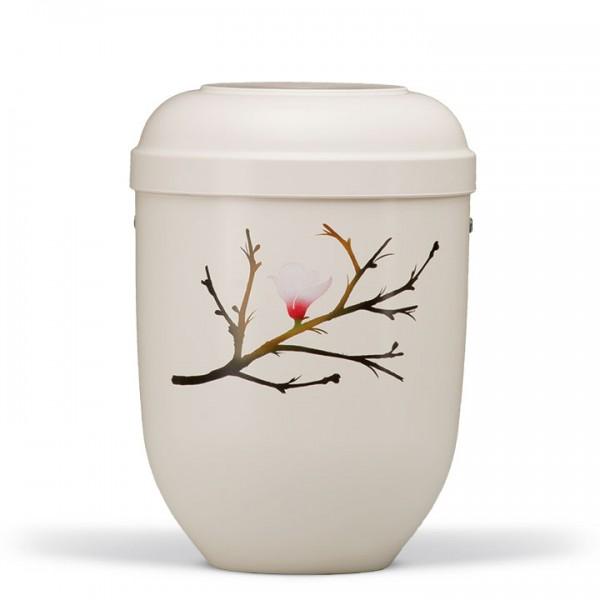 Naturstoffurne cremeweiss, Motiv: Magnolienblüte