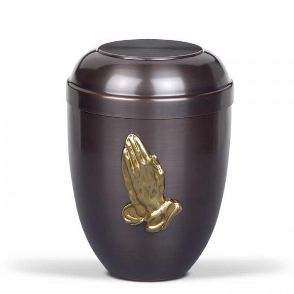 Cupatanurne dunkel galvanisch, Messing Betende Hand