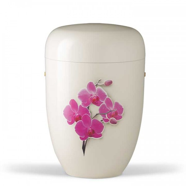 Stahlurne cremeweiß, Motiv Orchidee US3832LI