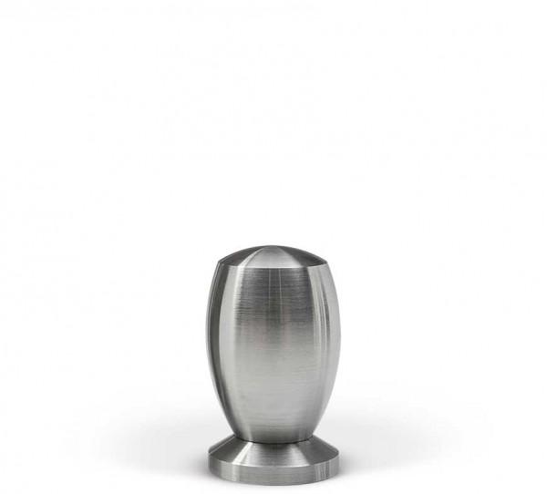 Miniurne aus Edelstahl, bauchige Form.
