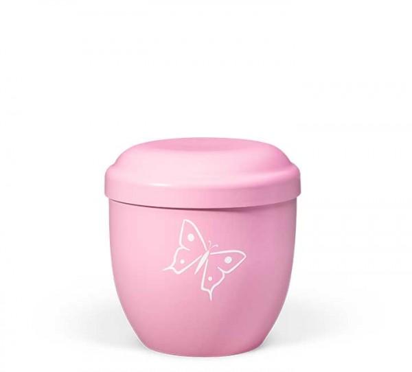 Naturstoff-Kleinurne rosa, Dekor Schmetterling