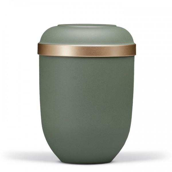 Naturstoffurne olivegrün-velour, Goldrand