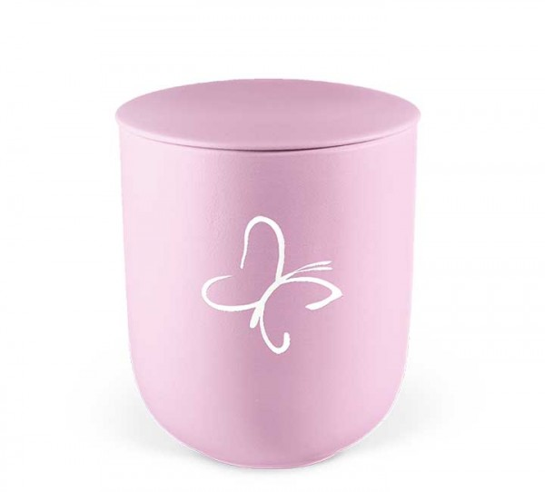 Keramik-Kleinurne rosa, Dekor Schmetterling