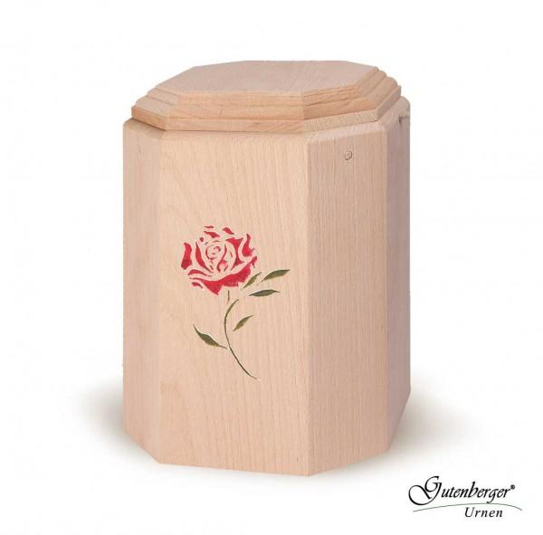 "Gutenberger-Urne aus Buche ""Art"" Motiv Rose"