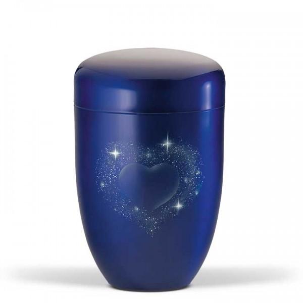 Stahlurne kobaltblau, Airbrushmotiv Herz US3654