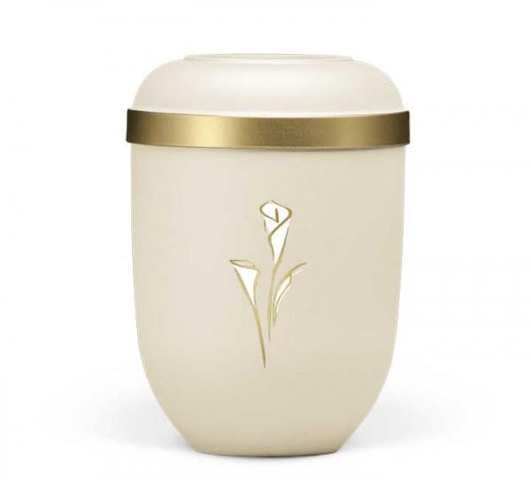 Naturstoffurne hell beige velours, Dekor Calla