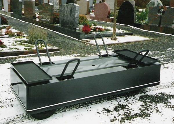 """Sargwagen """"Ideal"""" mit Rollschlitten und Feststellbremse"""