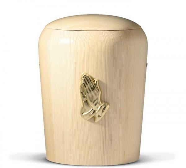 Holzurne gedrechselt Kiefer natur mit Motiv Betende Hand