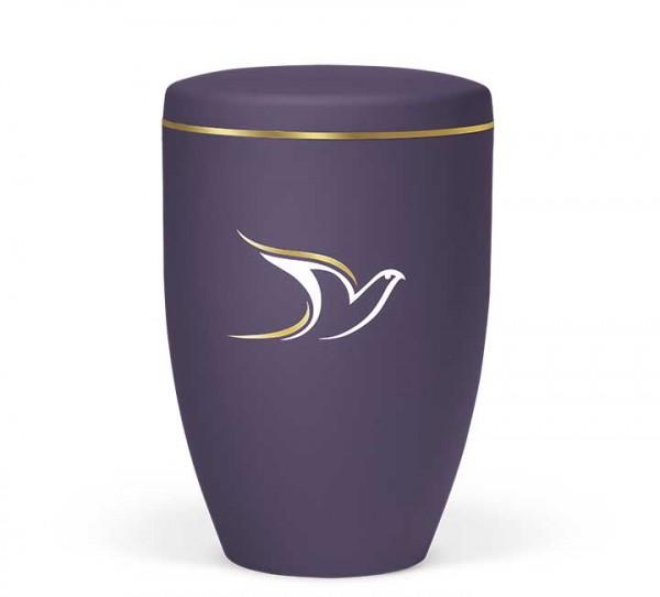Naturstoffurne violett-velours mit Dekor Taube