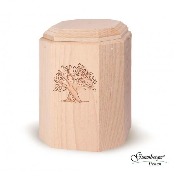 Gutenberger-Urne aus Buche massiv mit Baum-Motiv, Natura 104
