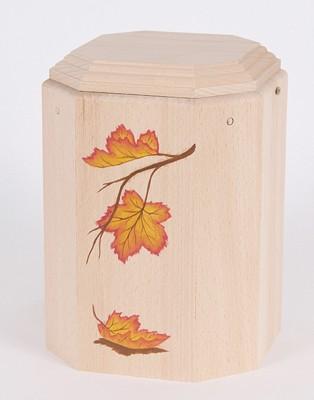 """Gutenberger-Urne aus Buche """"Imago"""" Motiv Herbstblätter"""
