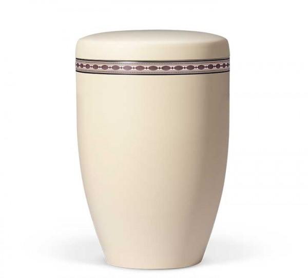 Naturstoffurne elfenbein beige mit Dekor Intarsien Imitation