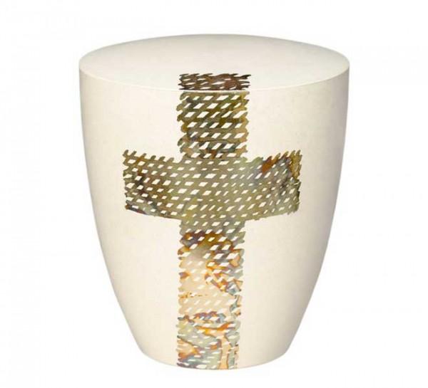 Biourne Genesis Cremeweiß mit Design Kreuz blau
