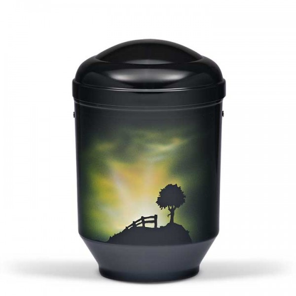 Stahlurne schwarz, Motiv Morgensonne US4025