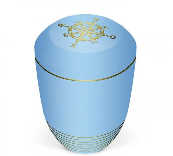 Seeurne atlantikblau mit Dekor Kompass