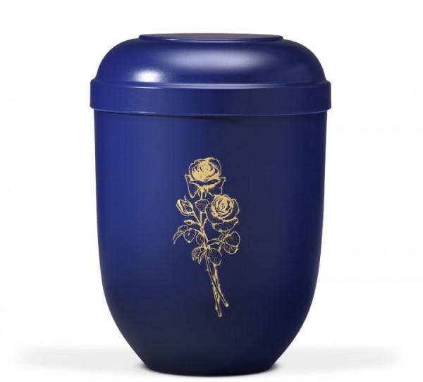 Naturstoffurne nachtblau mit Goldrose