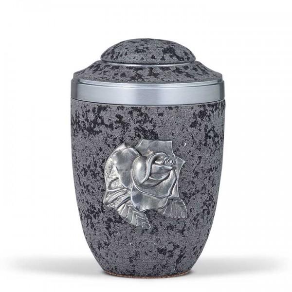 Stahlurne marmorit-anthrazit, zinnfarbene Rose