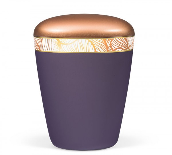 Naturstoffurne Art-Design violett velour, Deckel kupferfarben