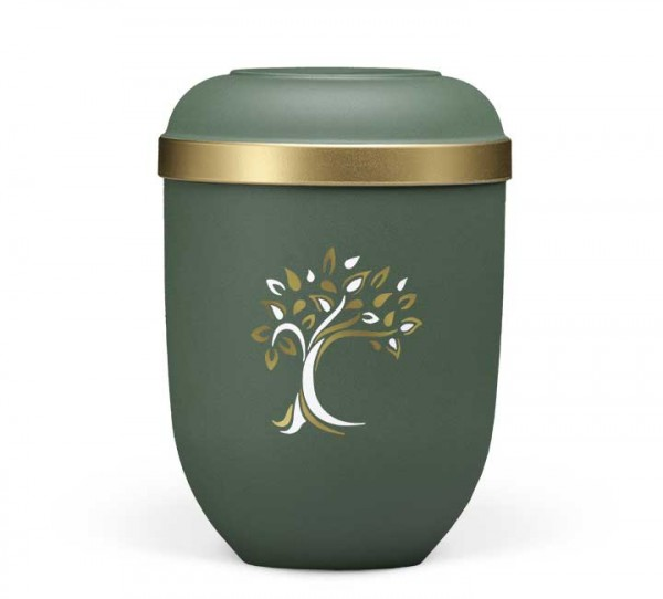 Naturstoffurne olivgrün velours, Baum ArtDecor