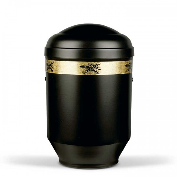 Stahlurne schwarz matt, Dekor Kreuz-Palme US2360KP