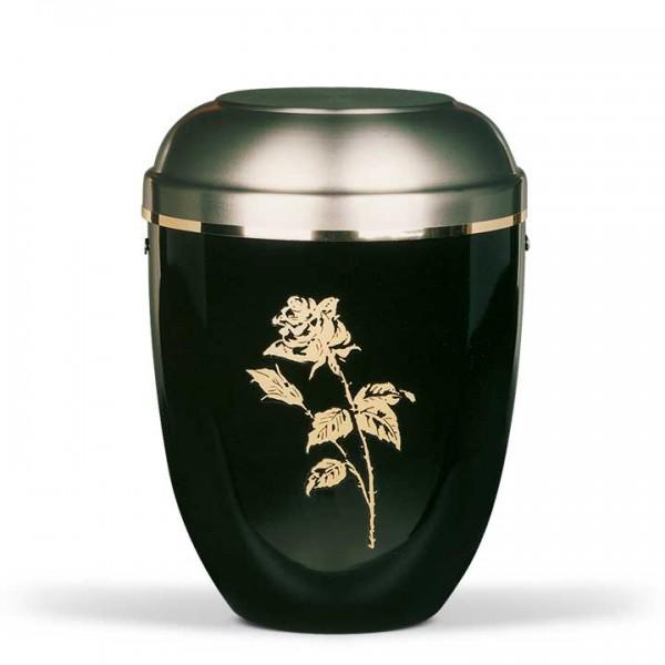 Stahlurne schwarz mit zinnfarbenem Deckel und Goldrose