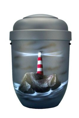 Naturstoffurne anthrazit, Motiv: Leuchtturm