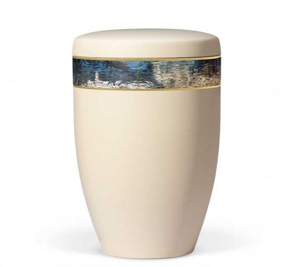 Naturstoffurne elfenbein beige, Dekorband ART Design