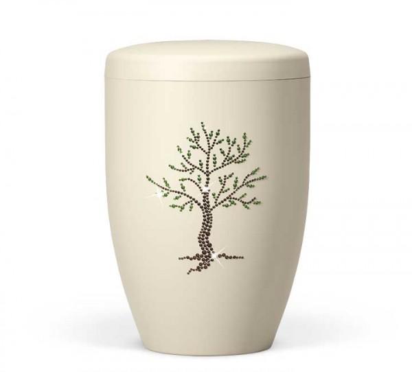 Naturstoffurne elfenbein-beige, Dekor Baum