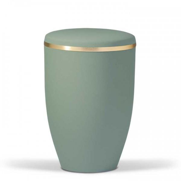 Stahlurne olivgrün velour mit Goldband US6232