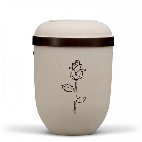 Naturstoffurne hell-beige-velour, Dekor: Rose braun