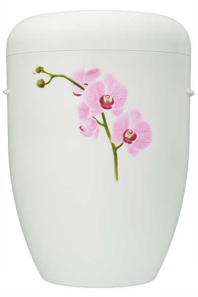 Naturstoffurne weiss matt, Motiv Orchidee
