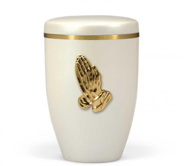 Stahlurne cremeweiss perlmutt, Betende Hände US6236BH